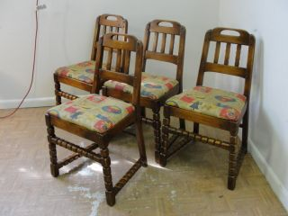 4 Antique Maple Cottage Side Dining Chairs photo