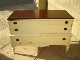Antique Chic Shabby Dresser Buffet Distressed French Country Cottage Creme Color photo