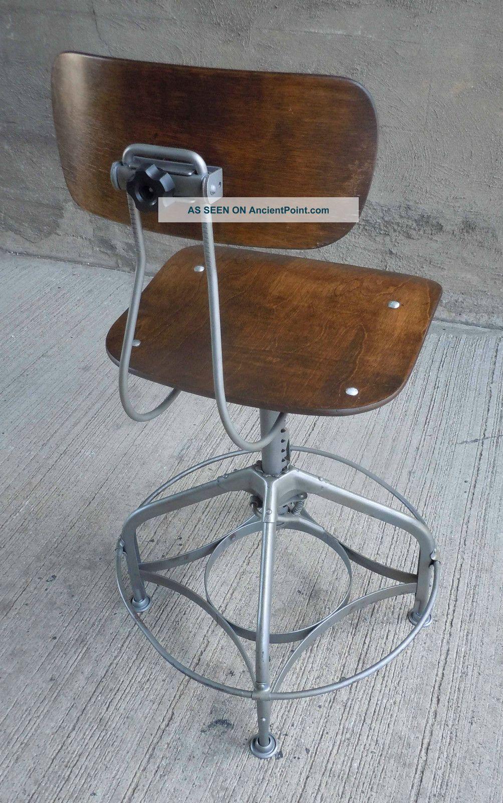 vintage industrial adjustable uhl toledo drafting stool w