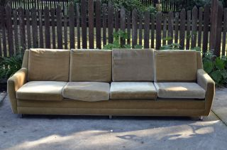 Mid - Century Modern Long Vintage Sofa Knoll Eames Chaise Furniture photo