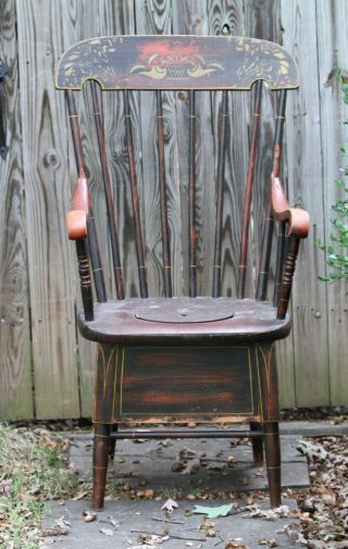 Antique Wooden Comode Chair photo