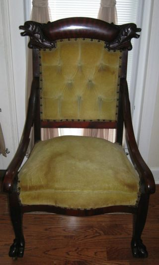 Antique Dark Finish Hand Carved Medieval Gothic Claw Drake Foot Furniture Chair photo
