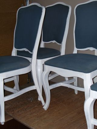 Set Of Vintage French Country Hard Wood Chairs Buy Six Commercial Quality Chairs photo