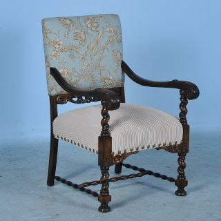 Antique/vintage Carved Danish Arm Chair With New Floral Upholstery C1910 photo