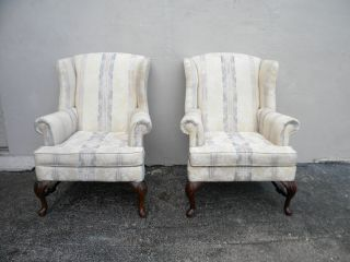 Pair Of Queen Anne Side By Side Wing Chairs By Bassett 2696a photo