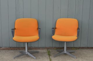 Pair Steelcase Pollock Shell Back Chairs With Chrome Base Orange Vintage Retro photo
