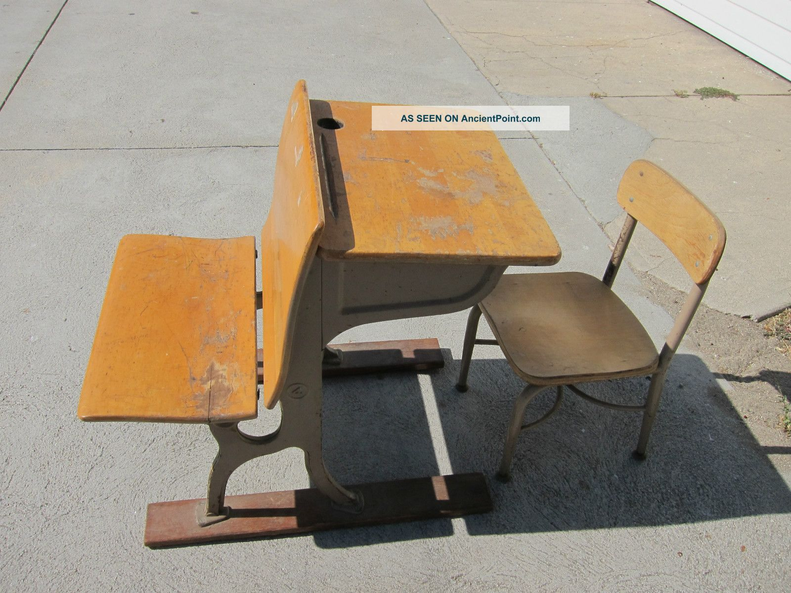 Vintage Childs School Desk And Chair 1900-1950 photo