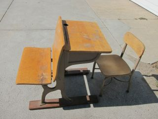 Vintage Childs School Desk And Chair photo