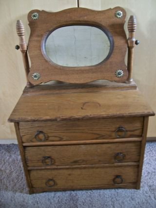 Antique Dolls Dresser Salesman Sample Bureau Doll Chest Of Drawers & Mirror photo