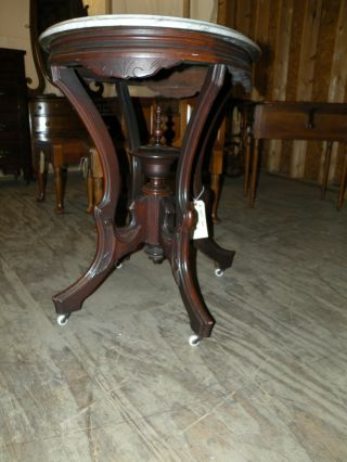 Antique Marble Top Eastlake Side Table photo