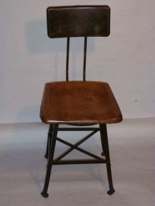 Vintage 1940s Factory Industrial Chair Angle Steel Stool Co - Wood Seat photo
