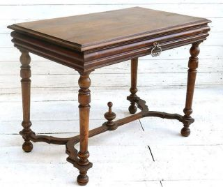 Antique C19 Louis French Writing Desk Side Table Walnut Henri photo