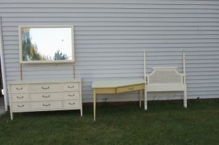 3 Piece White Shabby Chic 1960s Twin Bed Vintage Wood Headboard Dresser Desk photo