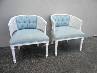 Pair Of Mid - Century Barrel Shape Caned Tufted Side Chairs 2736 photo