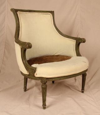 Antique French Louis Xvi Style Velvet Carved And Painted Bergere Arm Chair photo