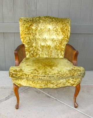 Vintage French Provincial Gold Tufted Crushed Velvet Cane Arm Chair By Claremont photo