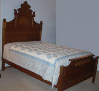 Antique Eastlake Walnut Bed Ca 1870 photo