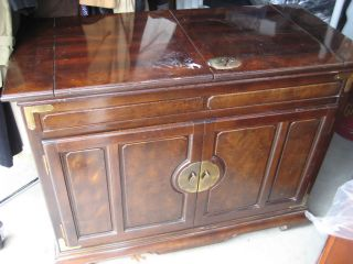 Rare Collectible Antique Wood Expandle Top Buffet Table On Rollers 1940 ' S photo