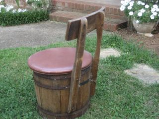 Rare Antique Vintage Barrel Chair Seat Shabby Wood Wooden Old Early Barrel Folk photo