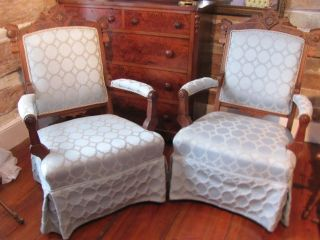 Pair Antique Parlor Side Chairs With More Modern Blue Upholstery photo