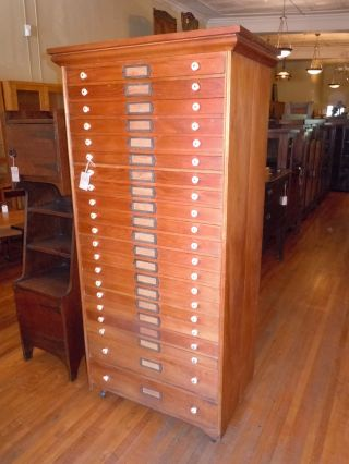 Antique Pine Artist ' S Tall Flat File 21 Drwr 1800 ' S All W/ Casters Art photo