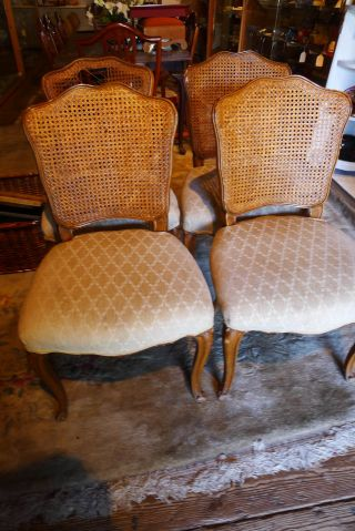Vintage French Caned Chairs Set - 4 (one As,  Is) Neutral Color Ready For Refurbish photo