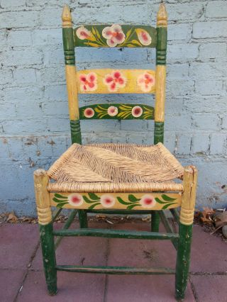 Antique Coronado Early Californian Arts & Crafts Chair Monterey Shabby Rush photo