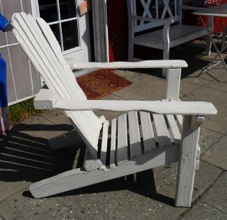 Antique Vintage Primitive Big Adirondack Arm Chair Shabby White & Chic,  Handmade photo