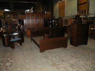 Antique Art Deco Style Americraft Mahogany Bedroom Set Furniture photo