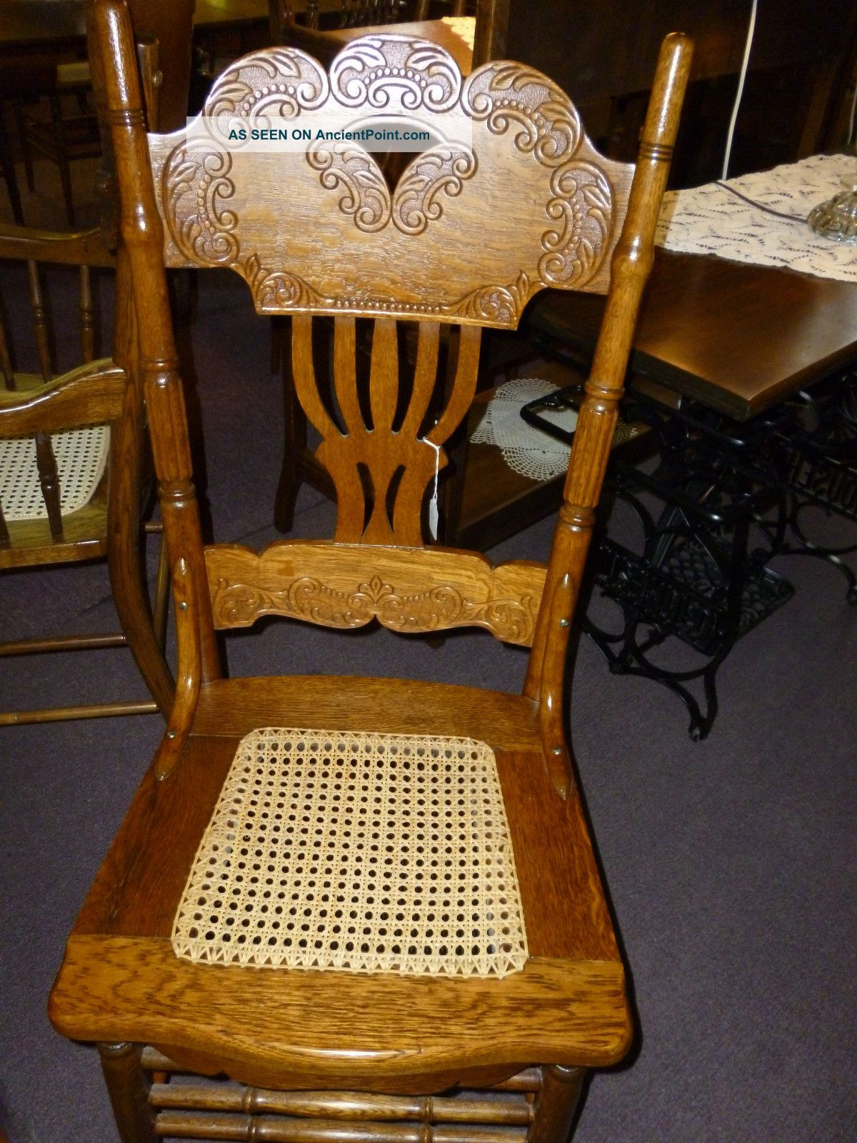 Antique Oak Chair Pressed Back With Hand Cane Seat. . Reglued . Full resolution  image, nominally Width 1200 Height 1600 pixels, image with #733D08.