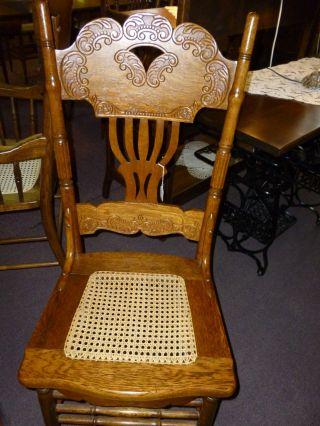 Antique Oak Chair Pressed Back With Hand Cane Seat. .  Reglued,  Refinished Usa photo