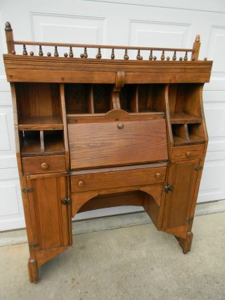 Antique Secretary Desk Aprox 1930 ' S Solid Oak photo