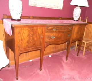 Vintage Elegant Inlaid Mahogany Bow Front Sideboard Buffet Cabinet Grand Rapids photo