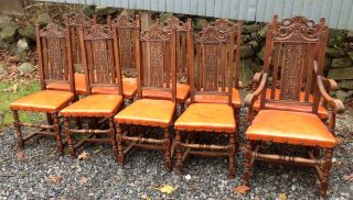 Carved Set Of 10 Oak Dining Chairs photo