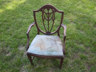 Antique Vintage Shield Back Side Chair Victorian W/springs Rare P/u Mass photo
