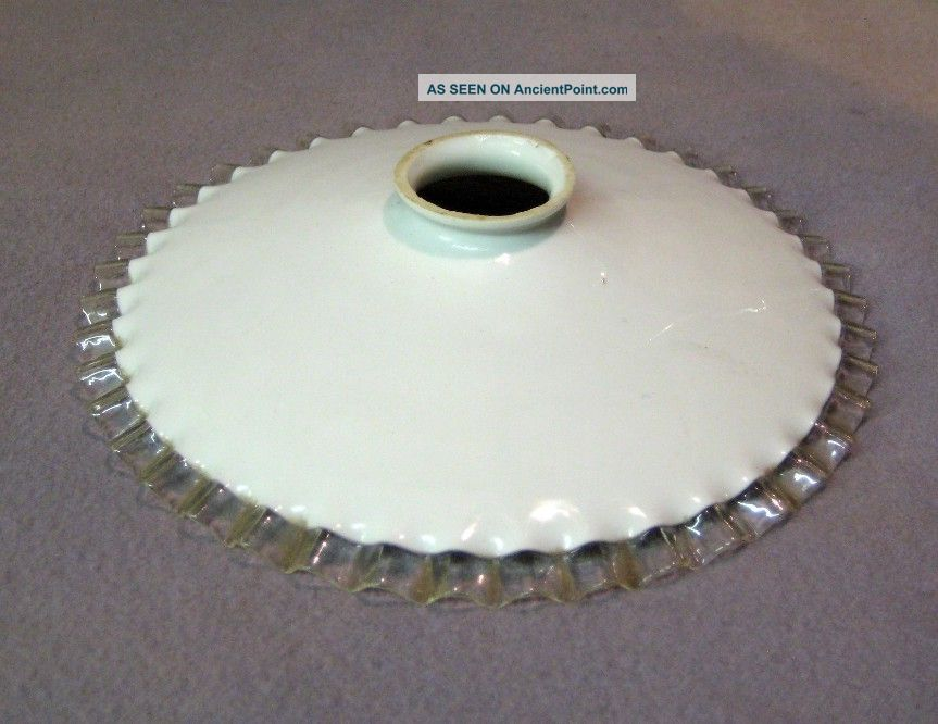 Vintage French Piecrust Glass Shade 20th Century photo