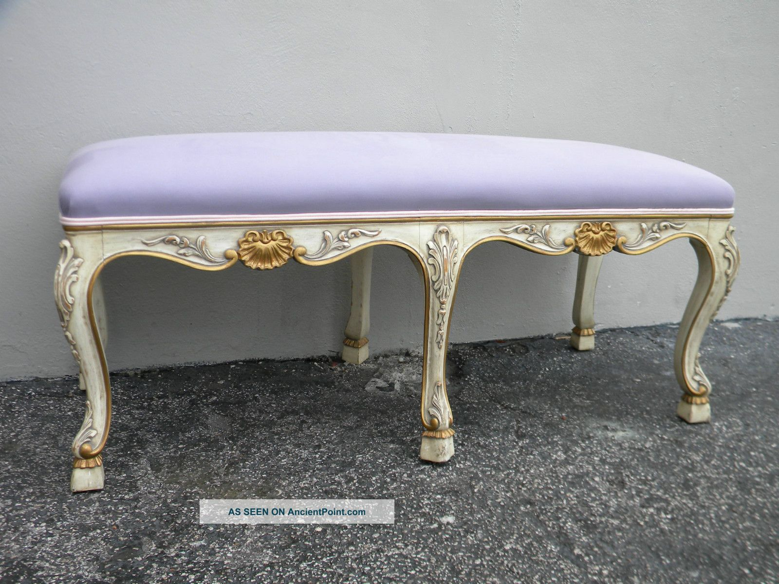 French Long Painted Antique Bench 2135 Post-1950 photo