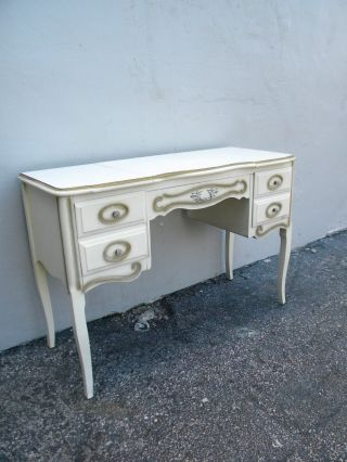 French Painted Vanity Desk With Mirror 2242 photo