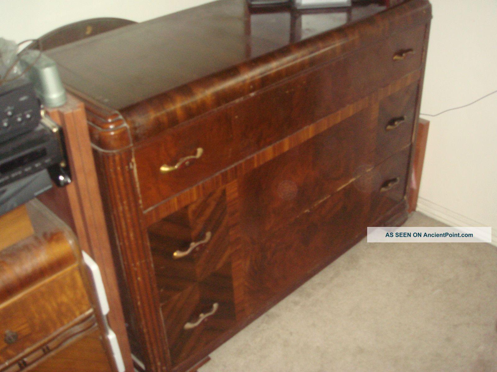 Art Deco Bedroom Furniture Waterfall Dresser Mirror Nightstand 1920