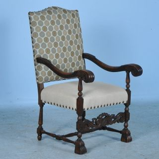 Vintage/antique Danish Carved Arm Chair With New Contemporary Style Upholstery photo