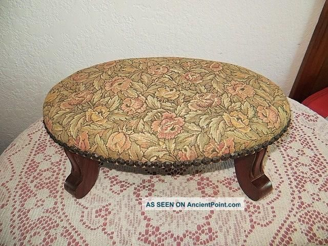 Antique Nantucket Rose Tapestry Footstool Kay Tennant Chairs & Frames L@@k 1900-1950 photo