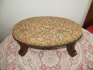 Antique Nantucket Rose Tapestry Footstool Kay Tennant Chairs & Frames L@@k photo