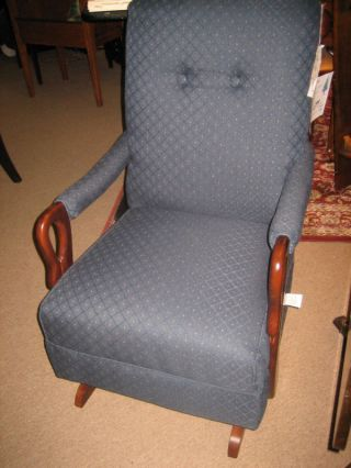 Gooseneck Rockers Antique Blue Fabric Hand Made Chair photo
