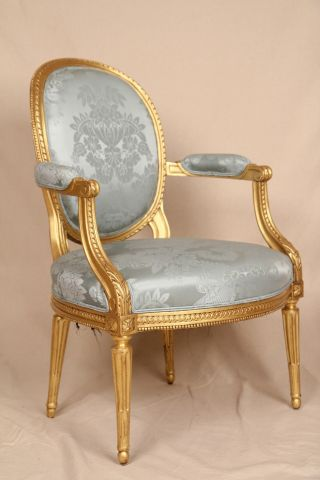 Fine Early 19th Century Gilded French Louis Xvi Antique Fauteuil Arm Chair photo