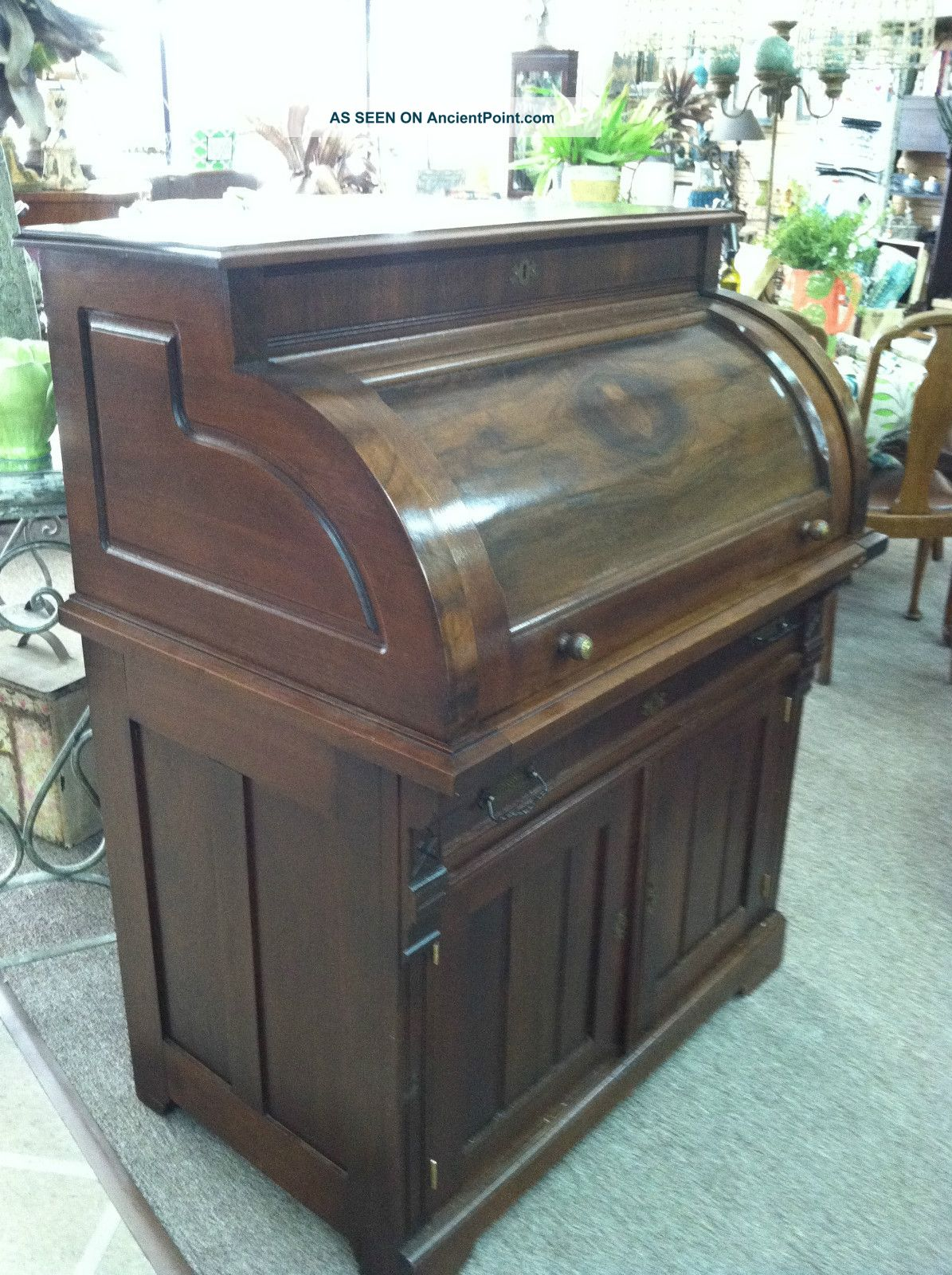 - Antique Walnut Victorian Cylinder Roll Writing Desk Circa 1880