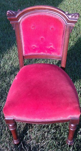 Antique Victorian Eastlake Ladies Parlor Side Chair C1880 photo
