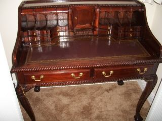 French Rare Solid Mahogany 14 Drawers Desk,  Legs,  Circa Late 1700s photo