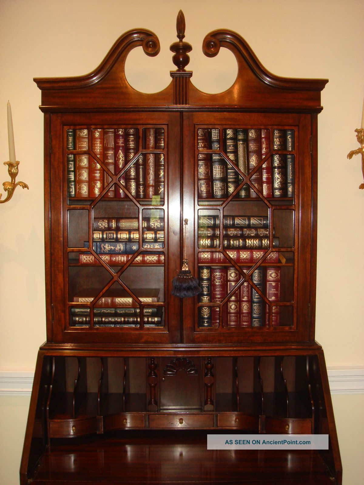Antique Mahogany Secretary Bookcase With Drop Down Desk Claw And Ball Feet - Antique Mahogany Secretary Bookcase With Drop Down Desk Claw And