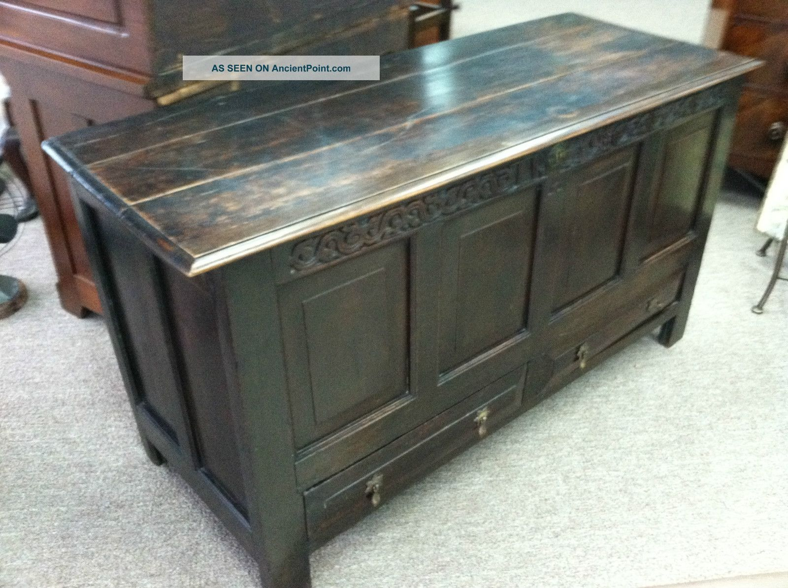 Gorgeous Antique Oak Mule Chest (english) Circa 1772 With Carved Initials/date Pre-1800 photo