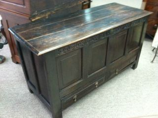 Gorgeous Antique Oak Mule Chest (english) Circa 1772 With Carved Initials/date photo